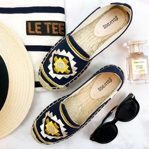 Soludos Navy Embroidered Espadrilles